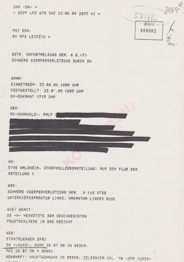 Täterschutz durch Beweiseunterschlagung im Falle des Folteropfers Adam Lauks...