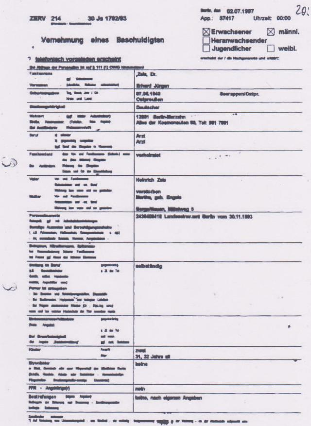 Vernehmung  des Dr. Zels -IM NAGEL 2.7.1997 durch ZERV 214 001