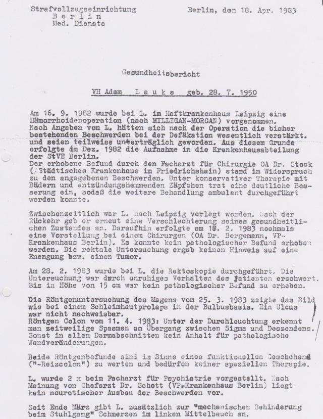 Wie der Vermerk über die Aufpfählung-die Erste (vom 30.3.1983) fehlt in den ZERV 21 Unterlagen auch Gesundheitsbericht vom 18.4.1983