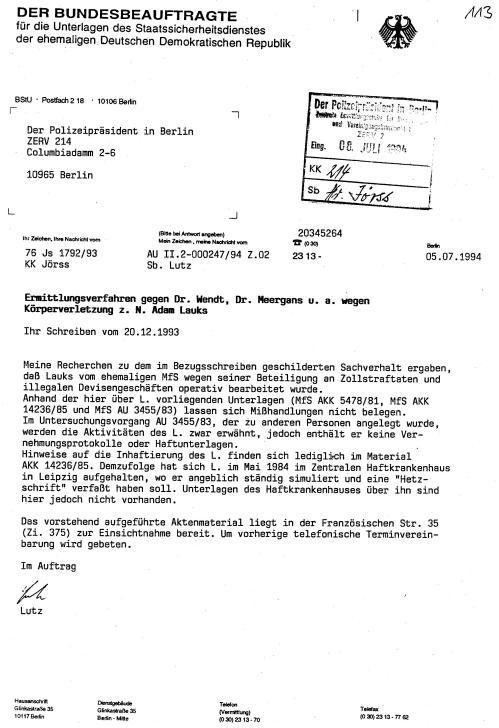 Gauck Behörde  überstellte die Akte Lauks im Original nicht der ZERV 214 1994