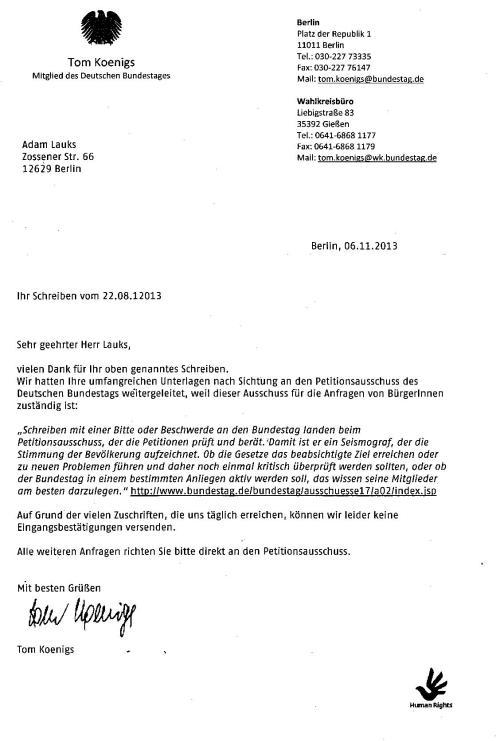 Deutscher Bundestag - Ausschuss f. Menschenrechte  Sntw.Eingangs
