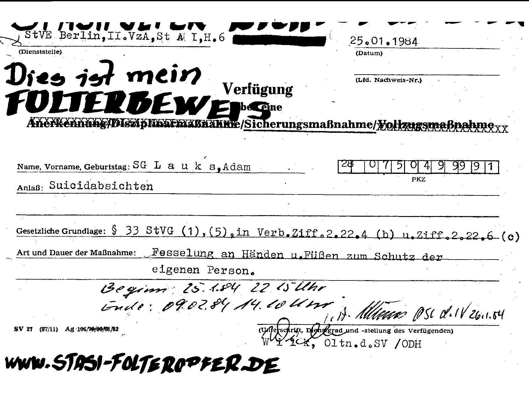 Ermittlungsverfahren auf Strafantrag wg. Folter 272 Js 2215 -11 001