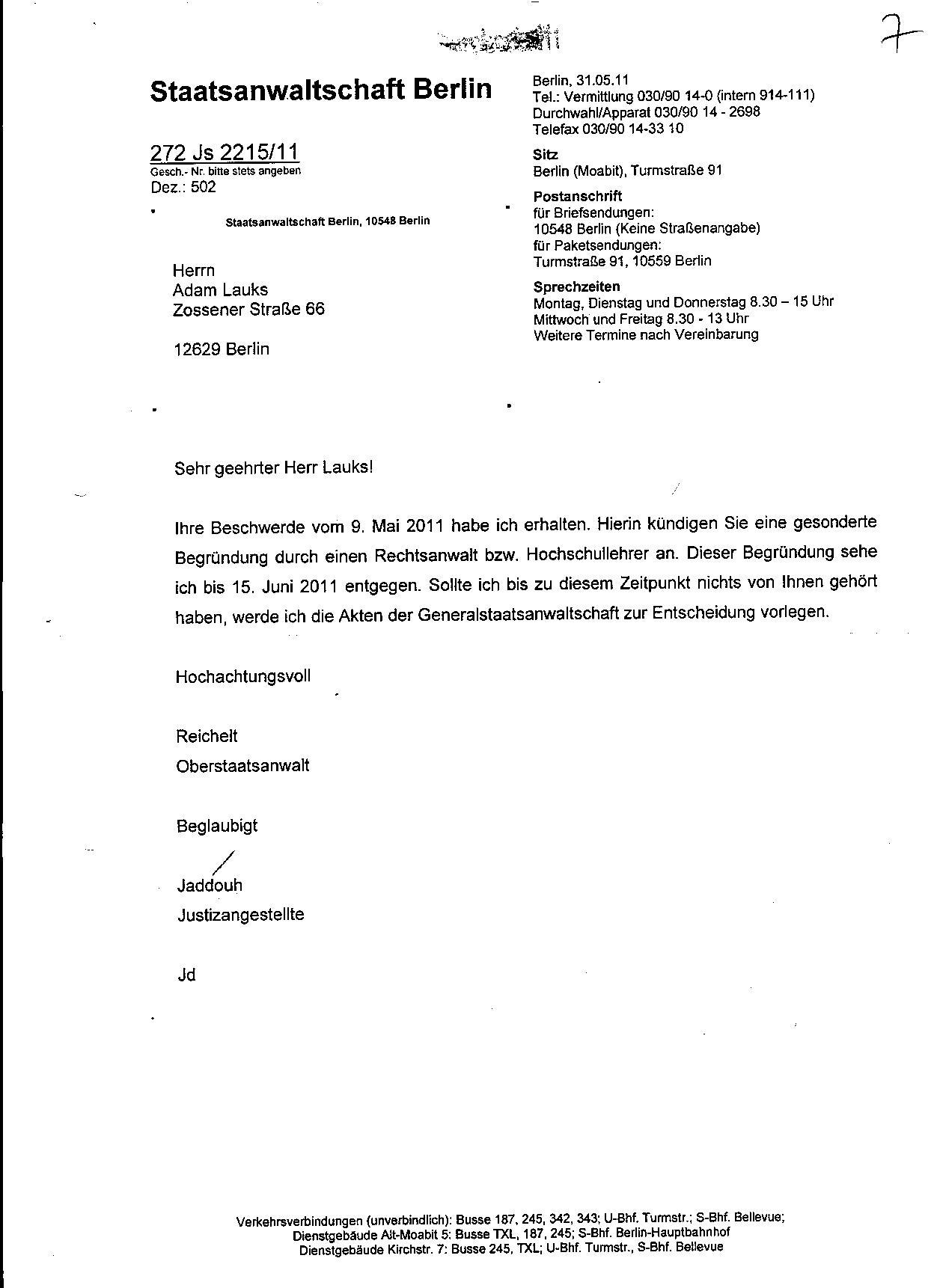 Ermittlungsverfahren auf Strafantrag wg. Folter 272 Js 2215 -11 013