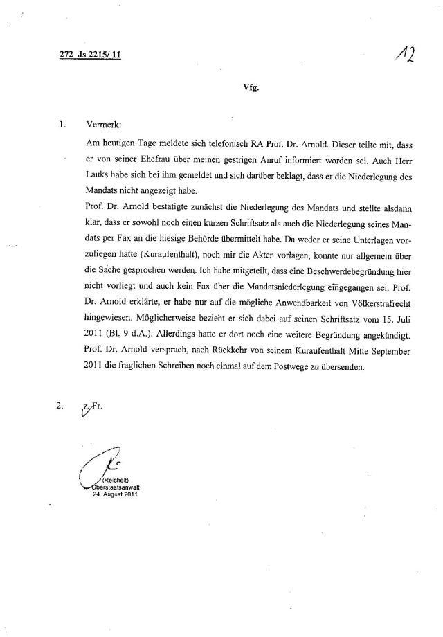 Ermittlungsverfahren auf Strafantrag wg. Folter 272 Js 2215 -11 018