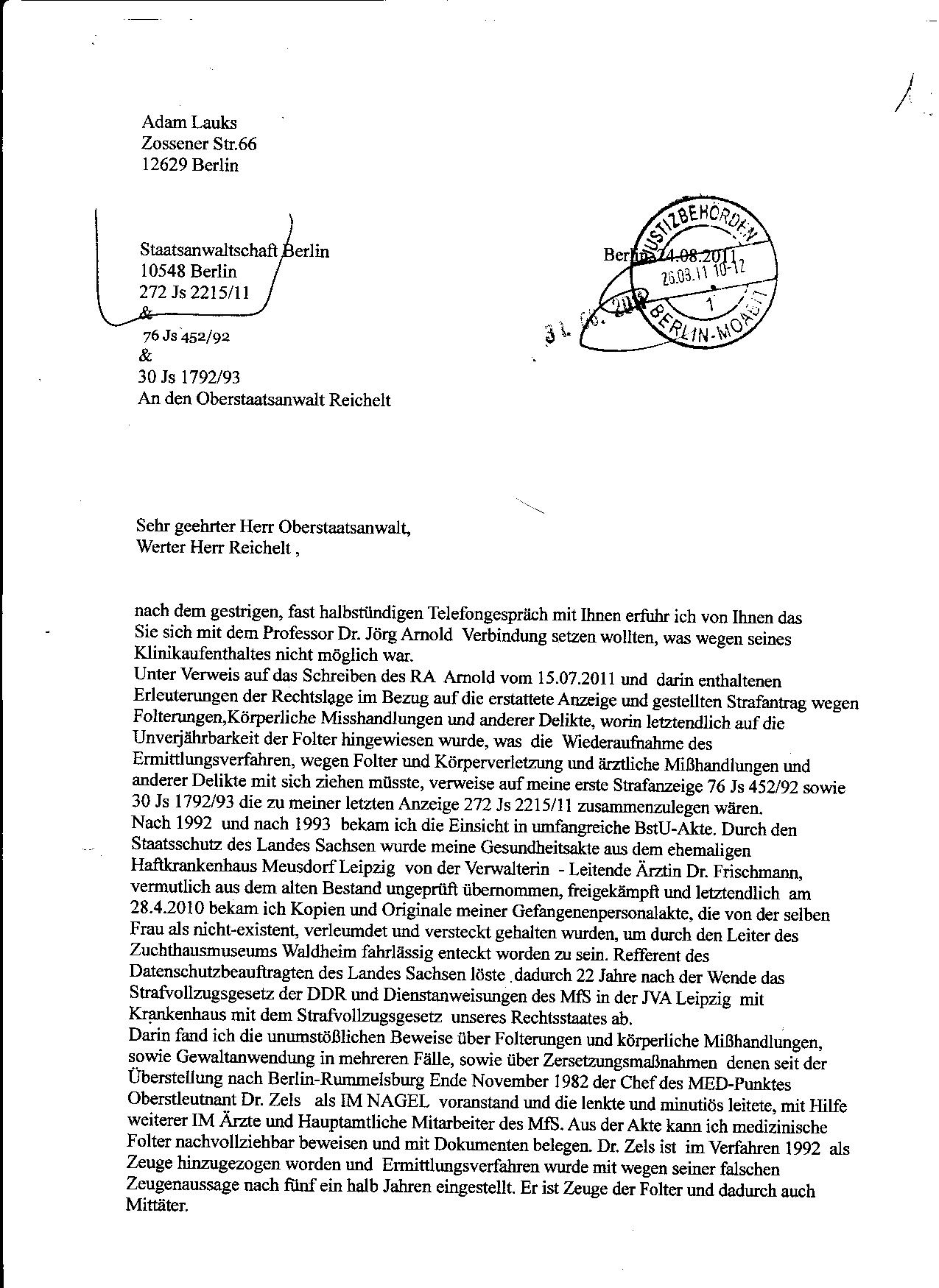 Ermittlungsverfahren auf Strafantrag wg. Folter 272 Js 2215 -11 019