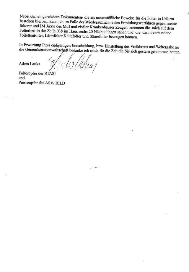 Ermittlungsverfahren auf Strafantrag wg. Folter 272 Js 2215 -11 020