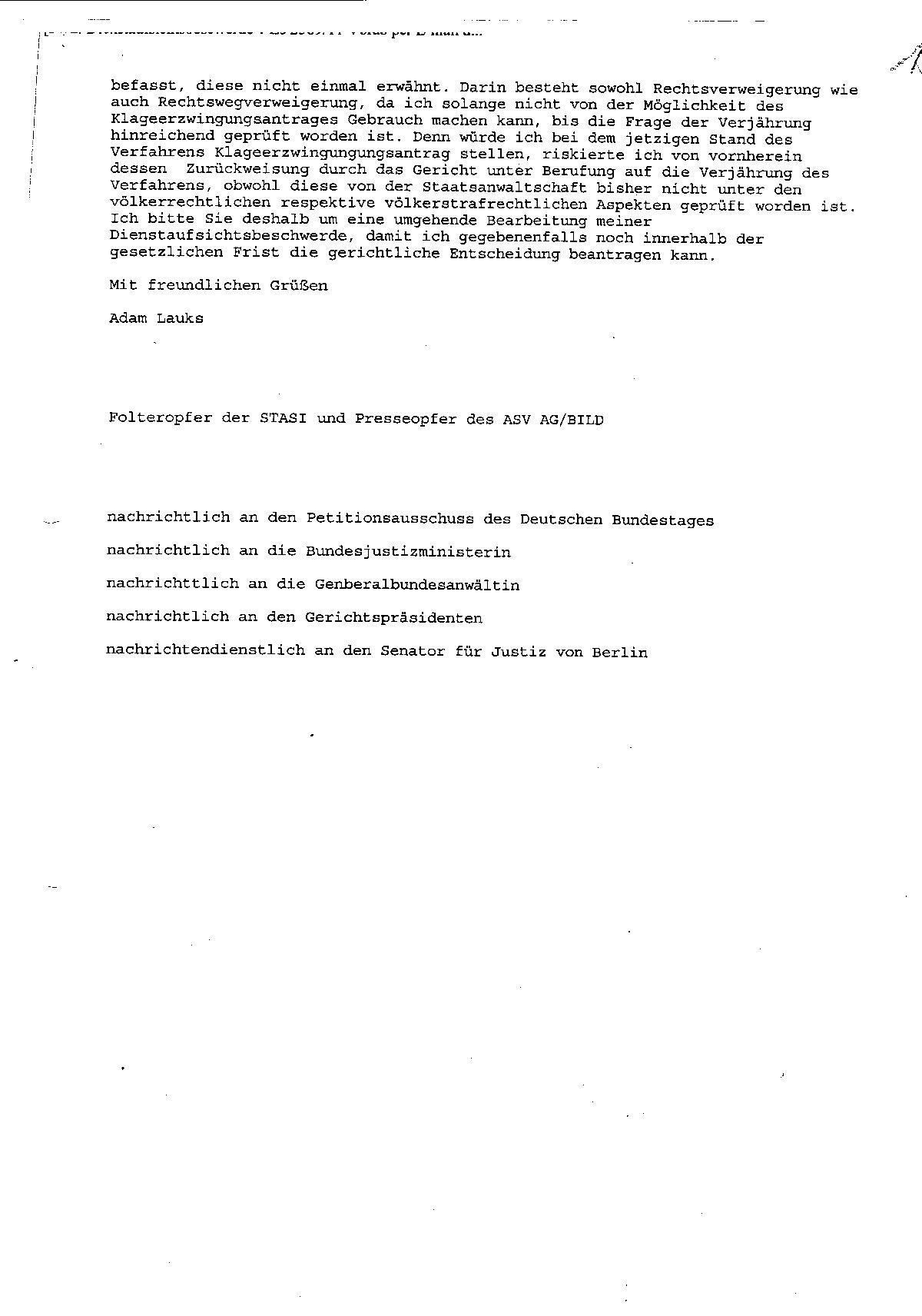 Ermittlungsverfahren auf Strafantrag wg. Folter 272 Js 2215 -11 025