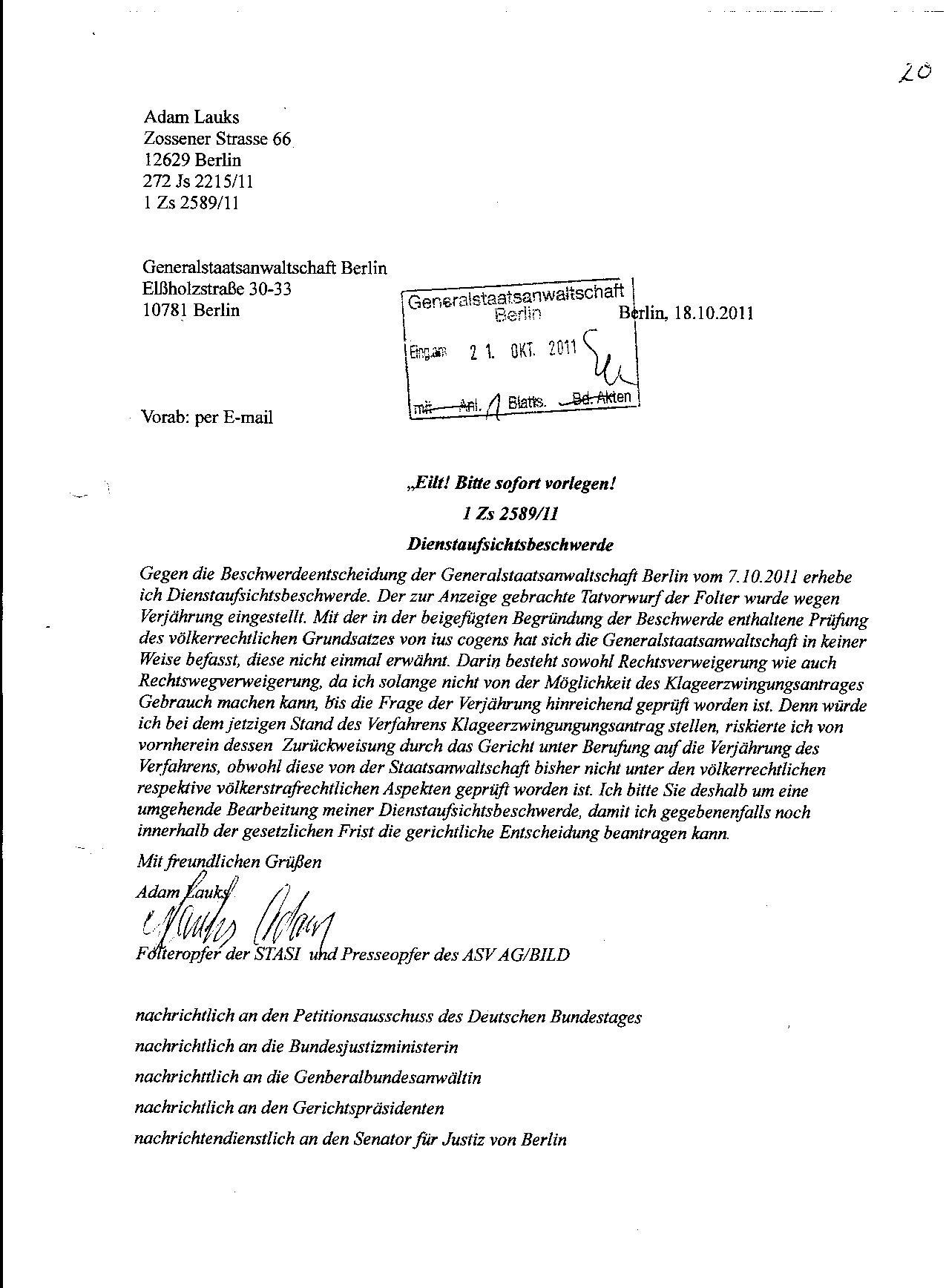 Ermittlungsverfahren auf Strafantrag wg. Folter 272 Js 2215 -11 026