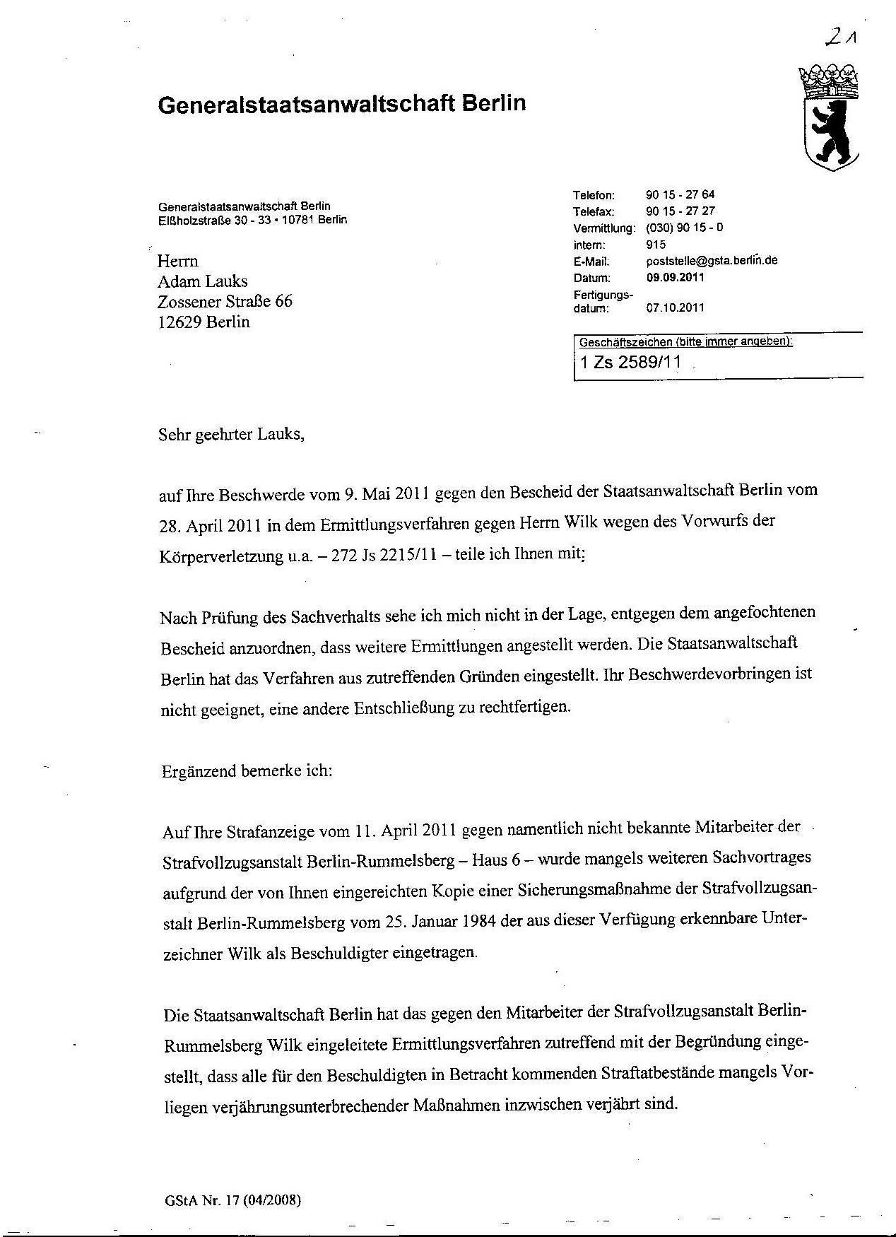 Ermittlungsverfahren auf Strafantrag wg. Folter 272 Js 2215 -11 027