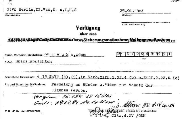 Ermittlungsverfahren auf Strafantrag wg. Folter 272 Js 2215 -11 032
