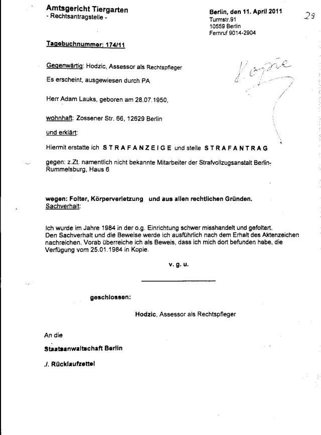 Ermittlungsverfahren auf Strafantrag wg. Folter 272 Js 2215 -11 034