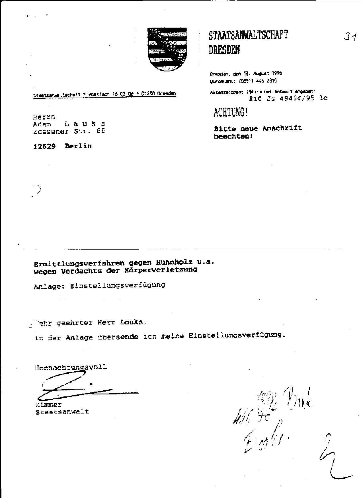 Ermittlungsverfahren auf Strafantrag wg. Folter 272 Js 2215 -11 036