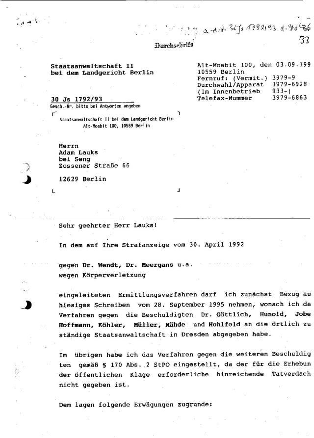 Ermittlungsverfahren auf Strafantrag wg. Folter 272 Js 2215 -11 038