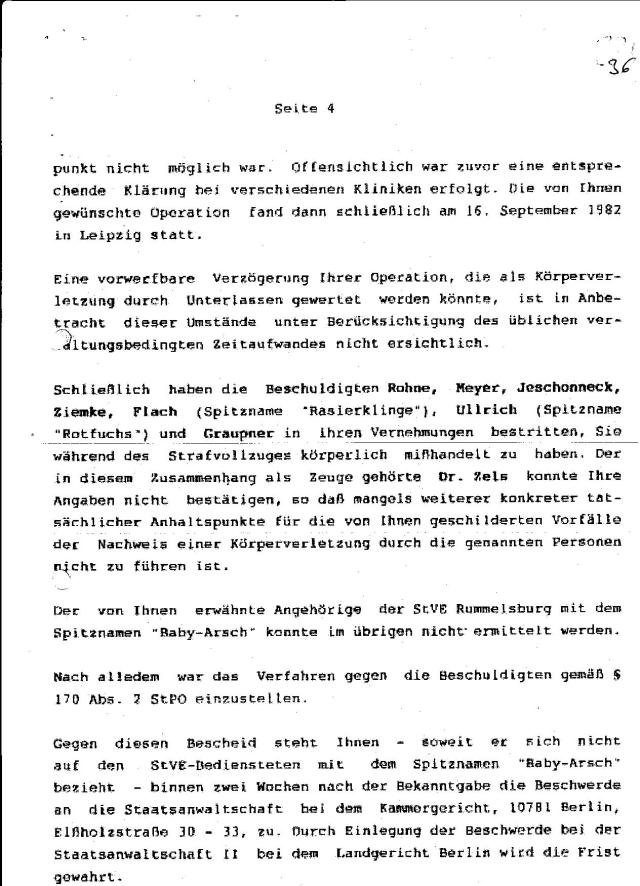 Ermittlungsverfahren auf Strafantrag wg. Folter 272 Js 2215 -11 041