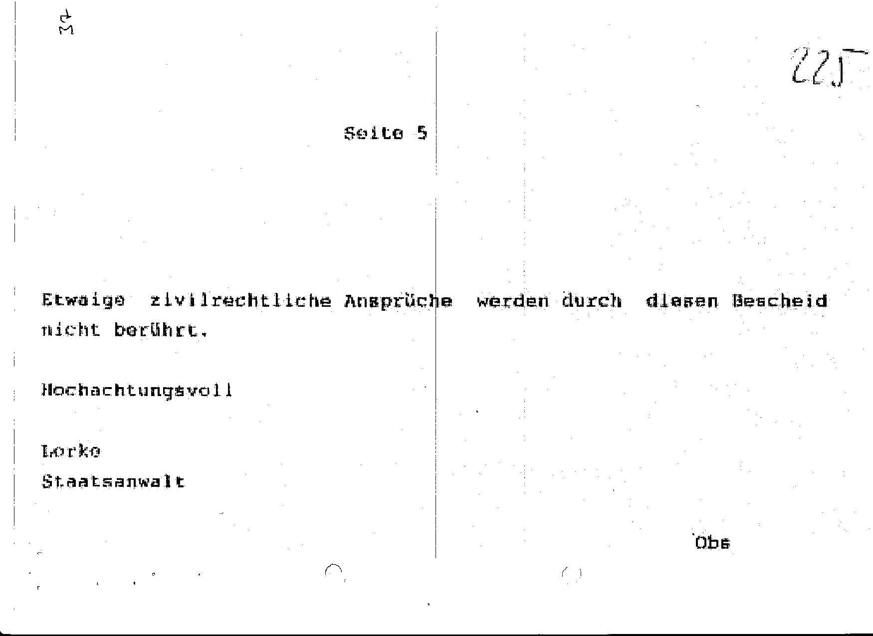 Ermittlungsverfahren auf Strafantrag wg. Folter 272 Js 2215 -11 042