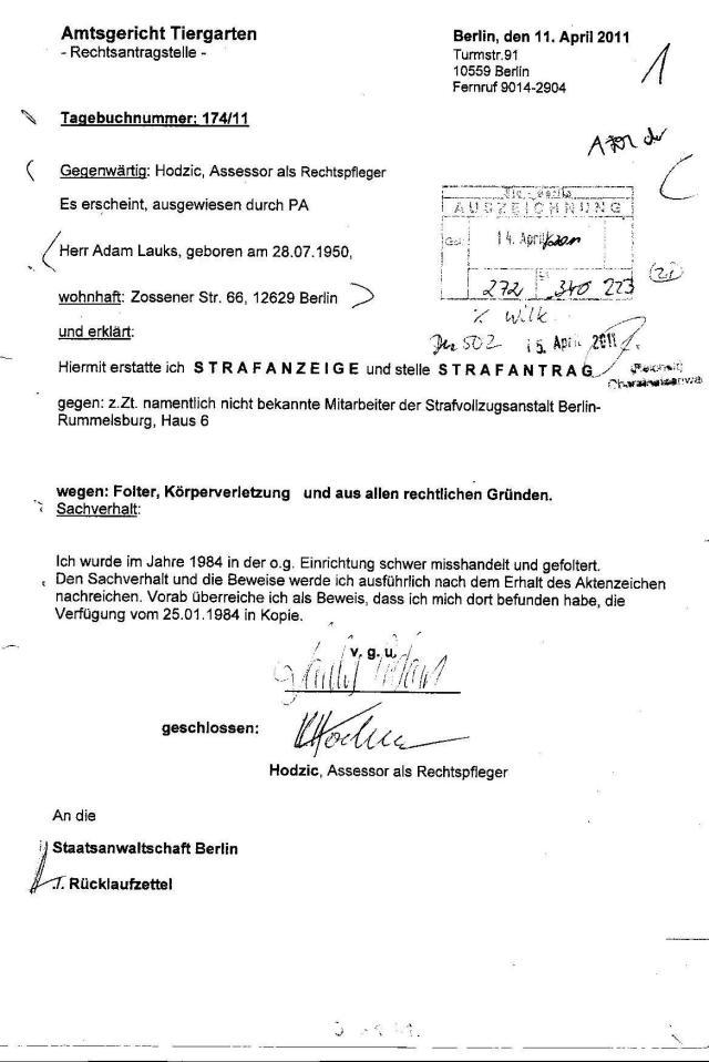 Ermittlungsverfahren auf Strafantrag wg. Folter 272 Js 2215 -11