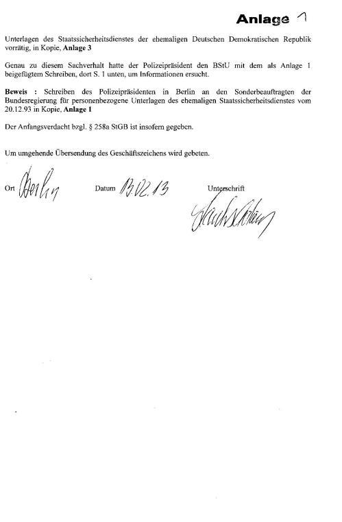 Strafanzeige gegen die Gauckbehörde 001