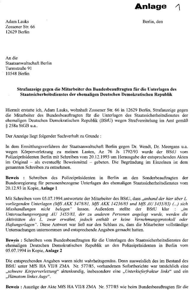 Strafanzeige gegen die Gauckbehörde