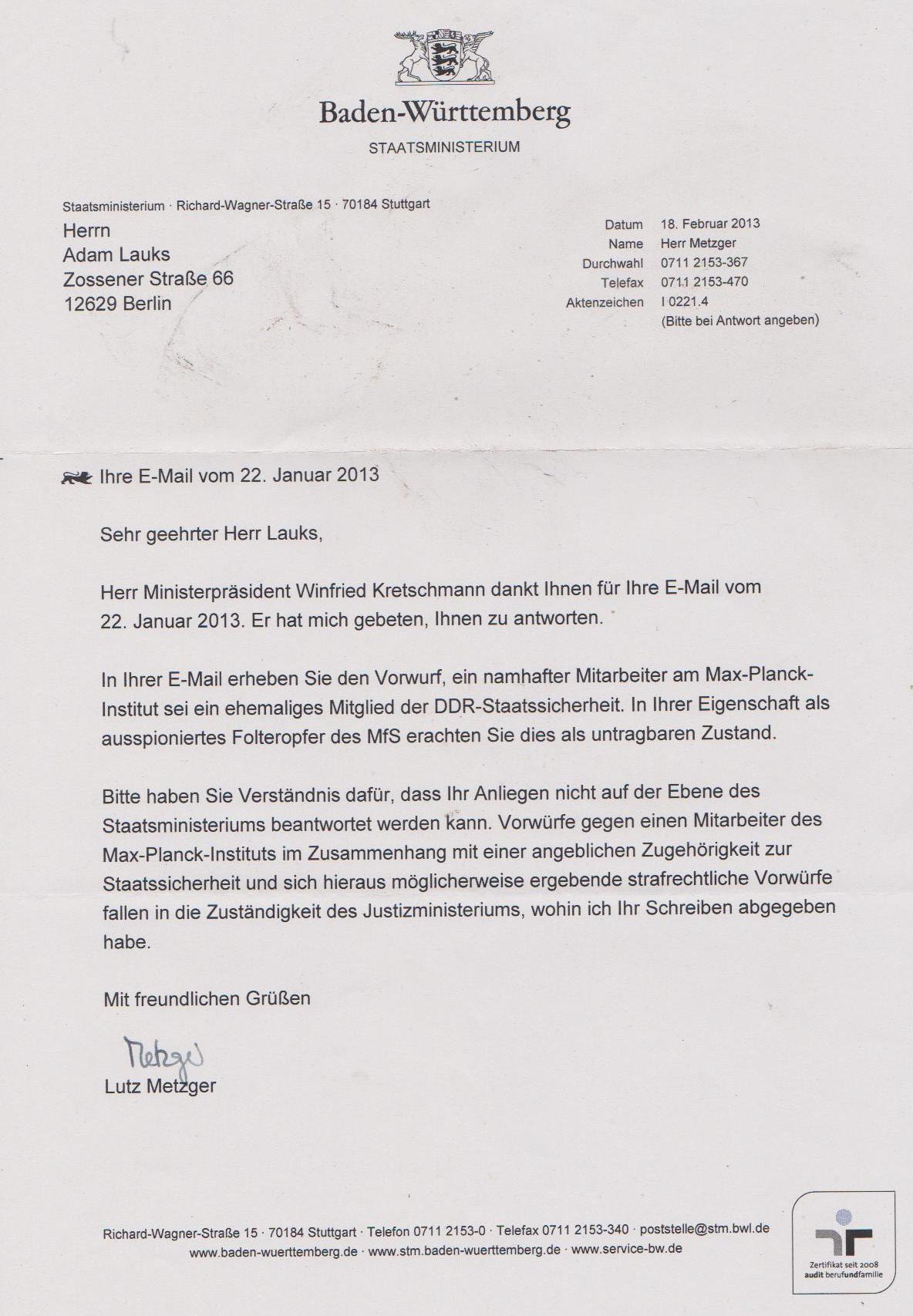 Offener Brief An Den Ministerpräsidenten Winnfried Kretshmann Im
