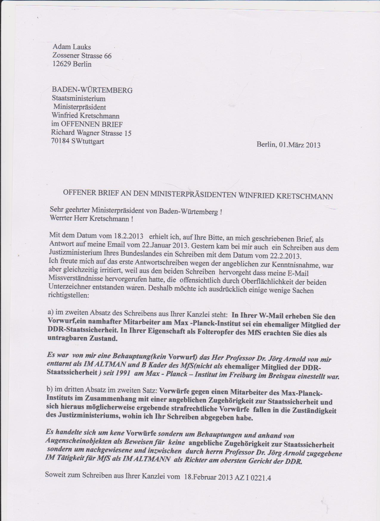 Brief Für Namensänderung : Offener brief an den ministerprÄsidenten winnfried