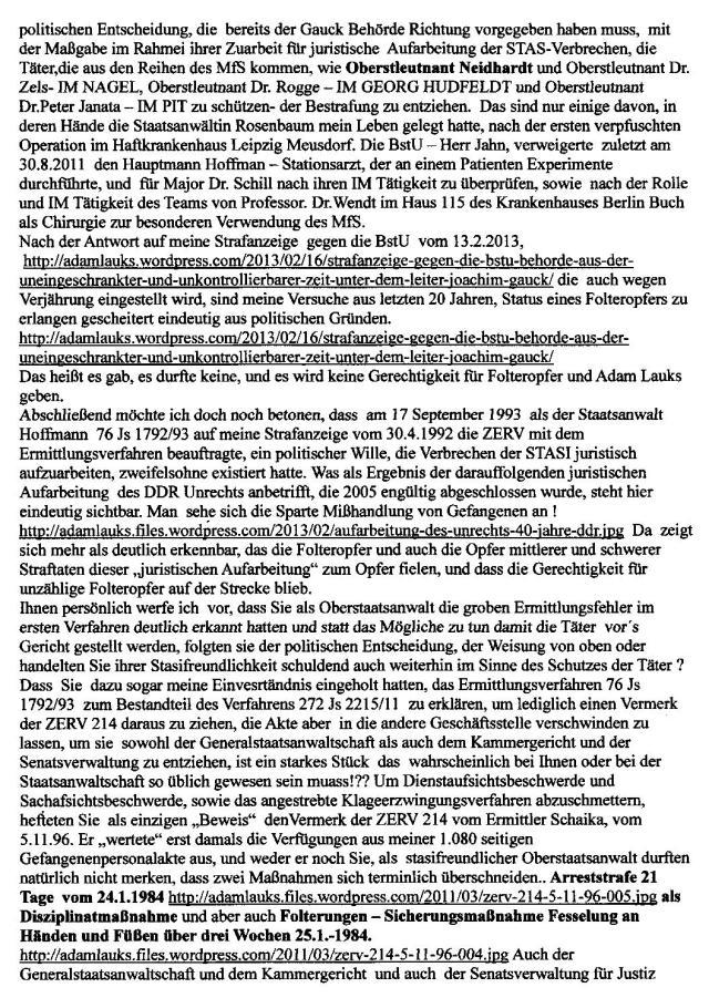 Strafvereitlung im Amt  seitens Berliner Justiz