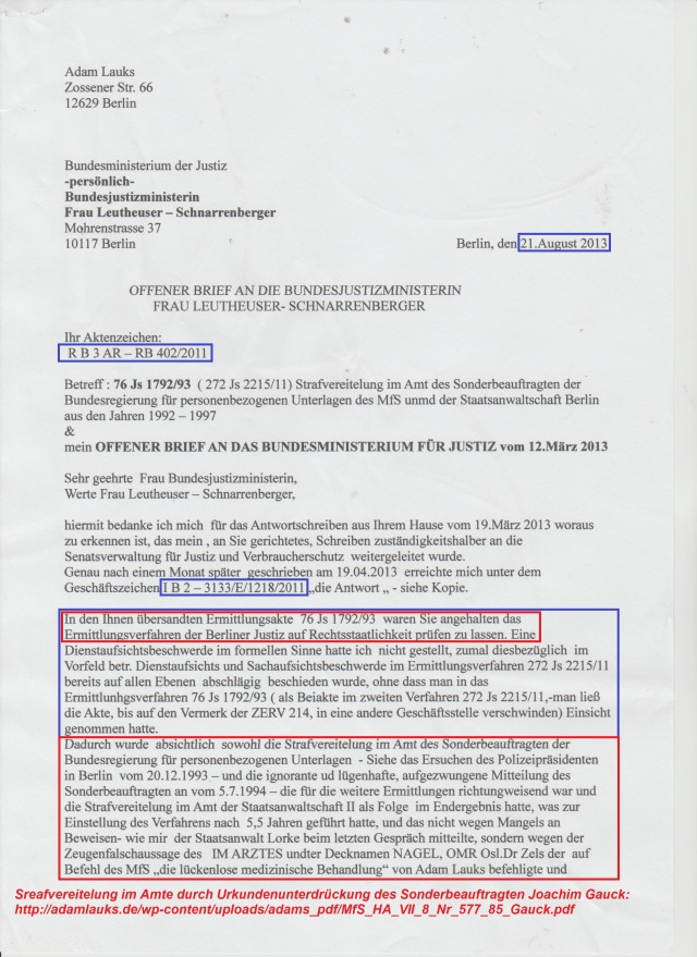 Offener Brief An Das Bundesministerium Der Justiz Frau Leuthäuser