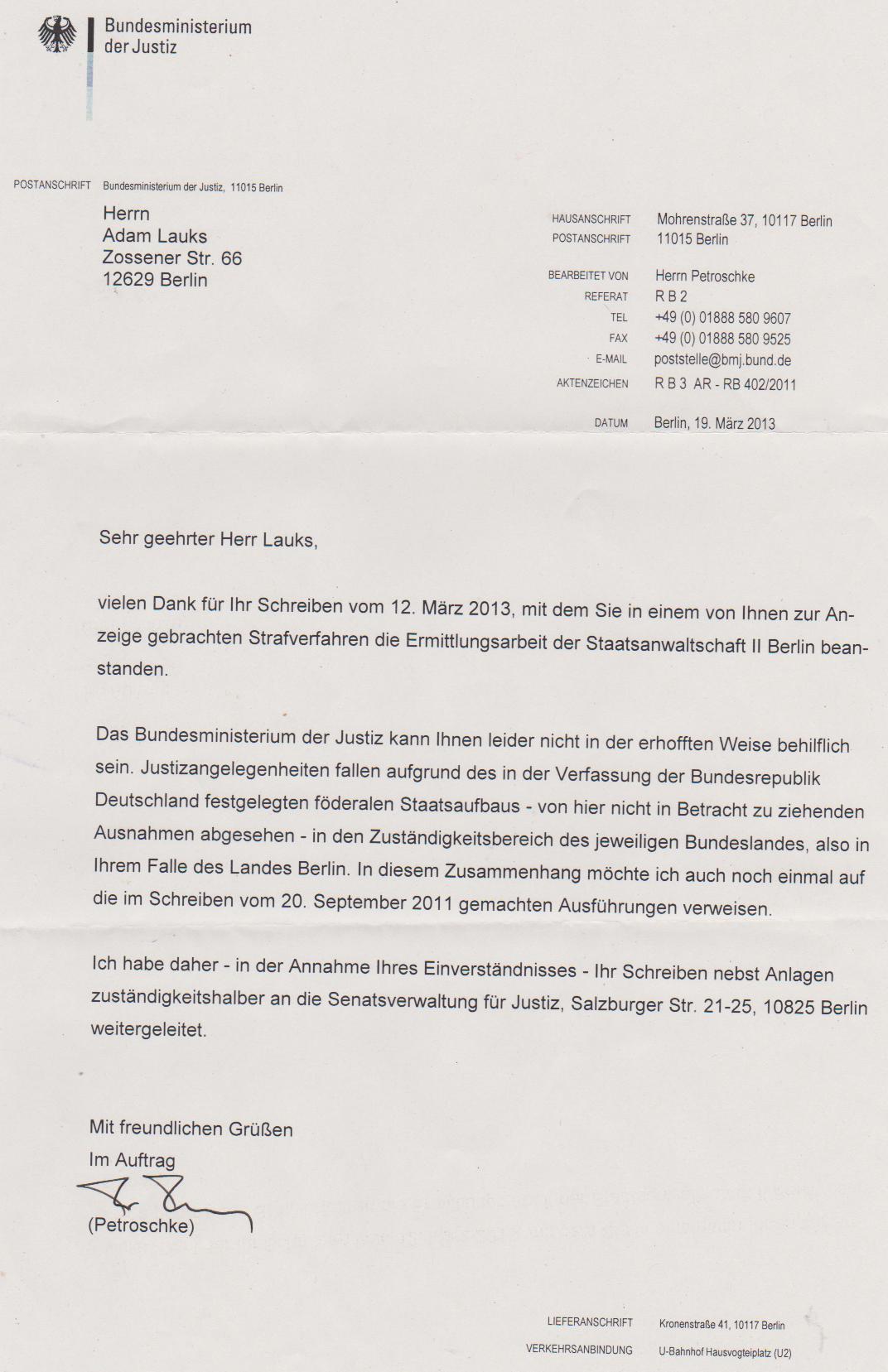 Offener Brief An Den Senator Für Justiz Und Verbraucherschutz Thomas