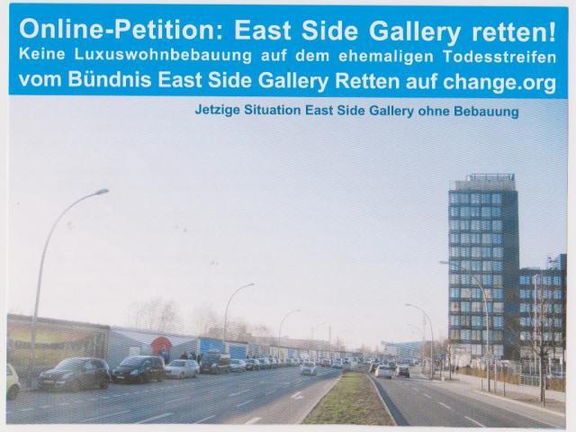 Die Reste der Berliner Mauer mit cder East Side Gallery heute