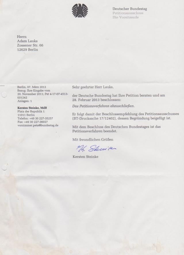 Kersten Steinke - Implementierung § Folter abgelehnt