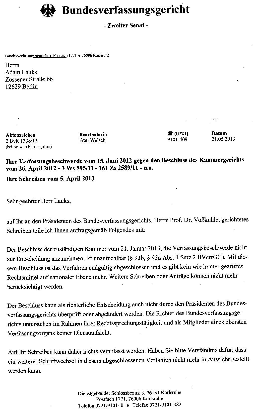 Brief Mit Einschreiben : Offener brief an den prÄsidenten des