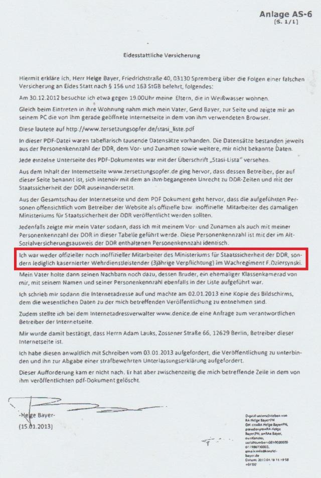 Wird hier Wachregiment Berlin Feliks Dzierzinski durch einen Nestbescmutzer und Verräter geleugnet per eine falsche eidesstaatliche Versicherung !??