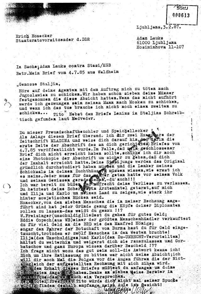 Am 3.2.1987 wurde der Brief geschrieben
