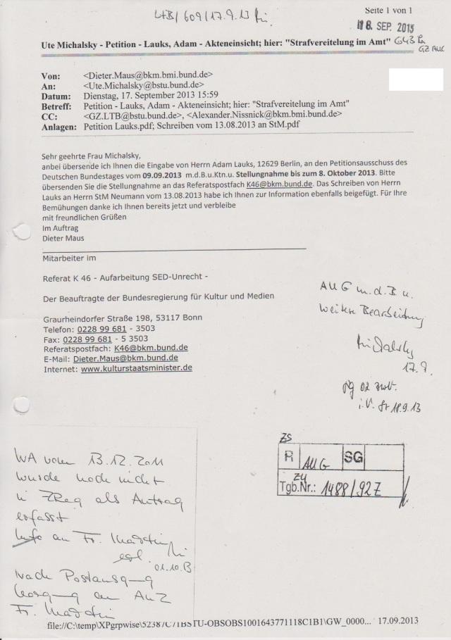 Auf Bitte des Petitionsausscusses -Dierig soll BKM die BStU um entlastende Antwort für die Gaucks Behörde anfordern !?