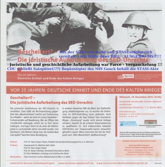 EINLADUNG an STASI und Justizopfer (der DDR)