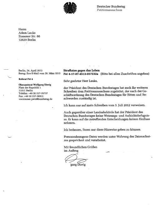 Antwort an den Petitionsausschuss Steinke Dierig Liebig 18.8.13 001