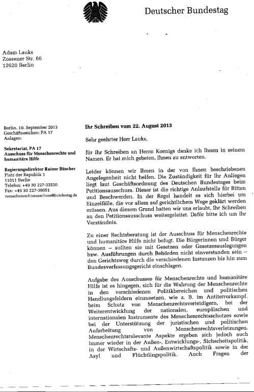 Ausschuss für Menschenrechte kann Folteropfer nicht helfen 001
