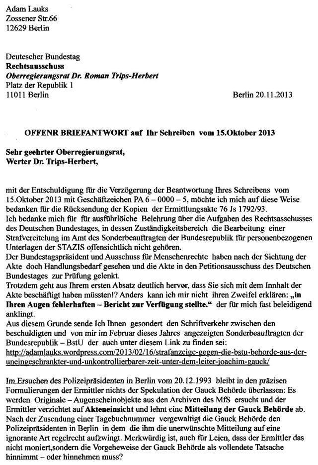 """eigentlich geht es um die Aufarbeitung der """"Aufarbeitung von Deutschem Unrecht"""