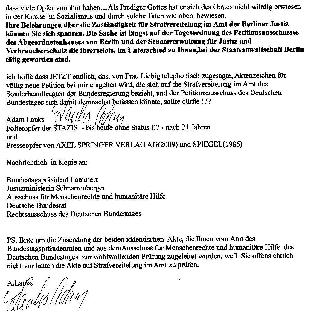 Man nahm das Schreiben und Überstellung der Akte 76 Js 1792/93 durch Prof. Lammert nicht für voll !?