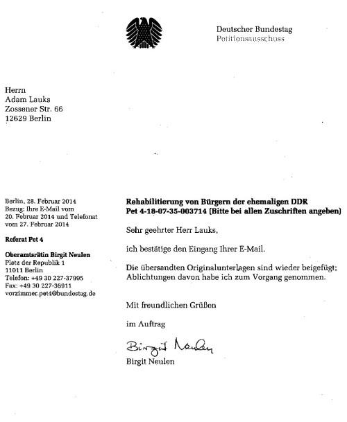 Vereitelte Bearbeitung der Petition des Bundesztagspräsidenten Lammert hat es niemals gegeben.