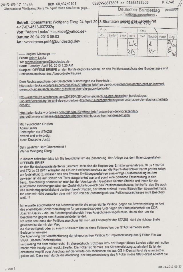 OFFENE BRIEFE an den Bundestagspräsidenten, an den Petitionsausschuss des Abgeordnetejnhauses von Berlin und des Rechtsausschusses des DBT