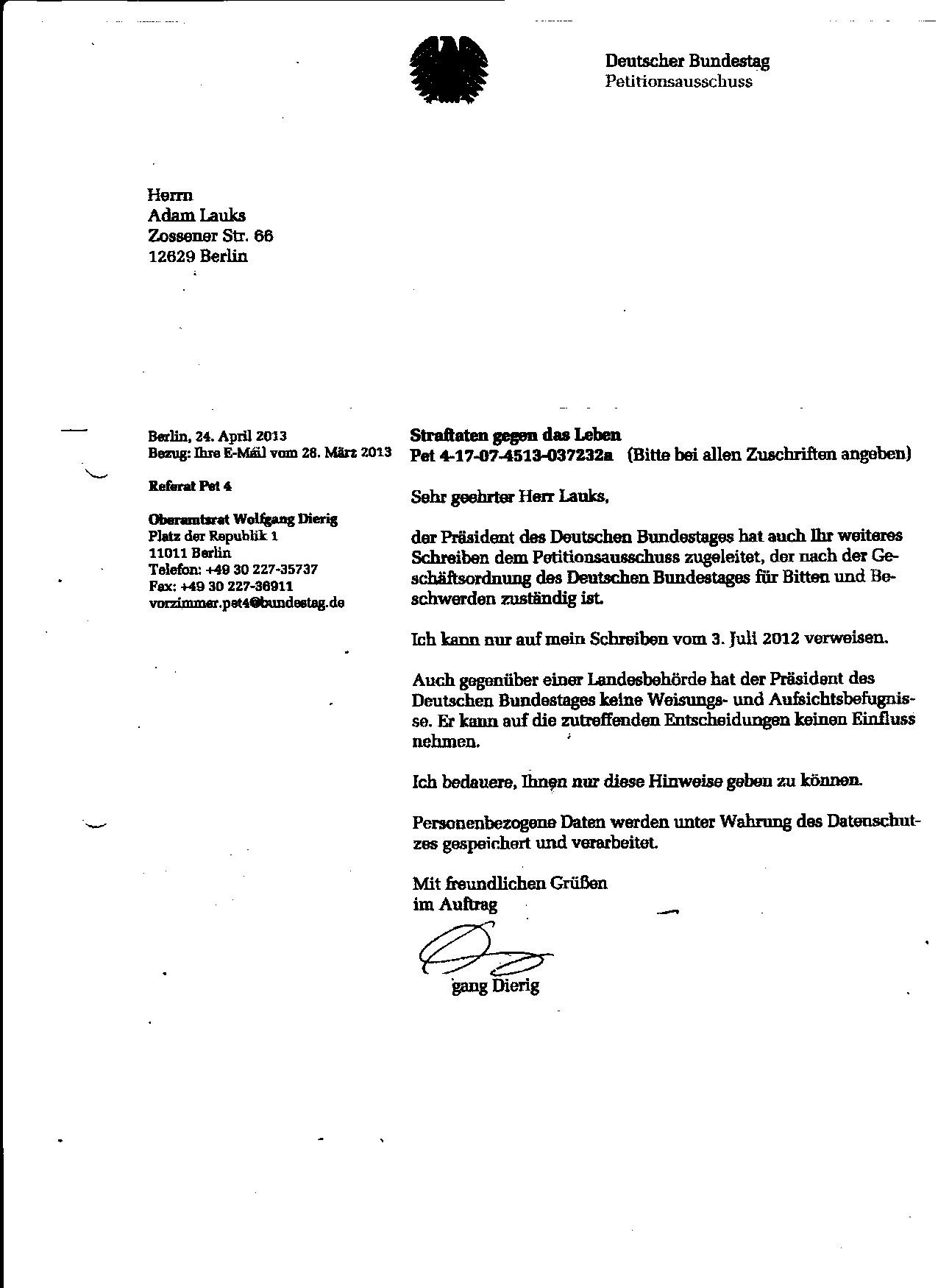 Strafvereitelung im Amt der BStU zum Nachteil des Folteropfers Adam Lauks wäre richtig