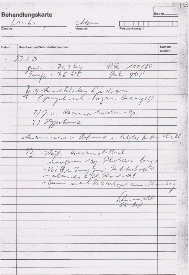 Es gab keine Aufnahme in das Haus 8 am 27.2.1983