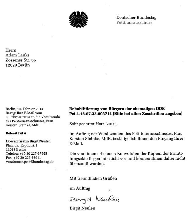 Diese Überschrift und Aktenzeichen haben absolut nichts mit der Petition des Bundestagspräsidenten Lammert NICHTS zu tun. Kersten Steinke behauptet keine Akte zu haben (gesehen zu haben)