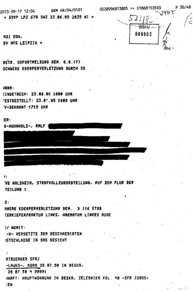 Festgestellt 16.05 -dem Strafvollzug bekannt 17.15