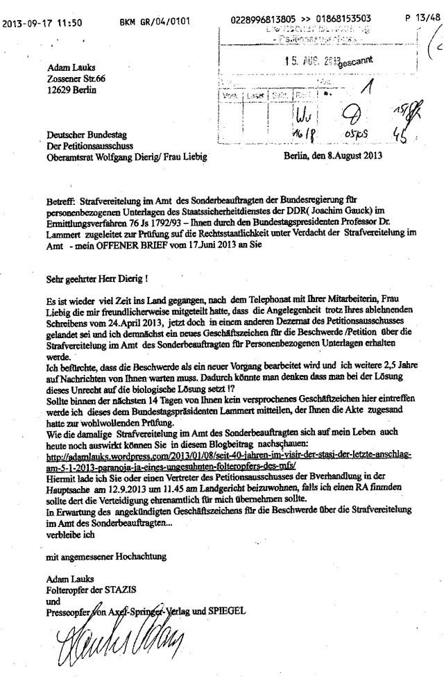 An Oberamtsrat Wolfgang Dierig / Frau Liebig