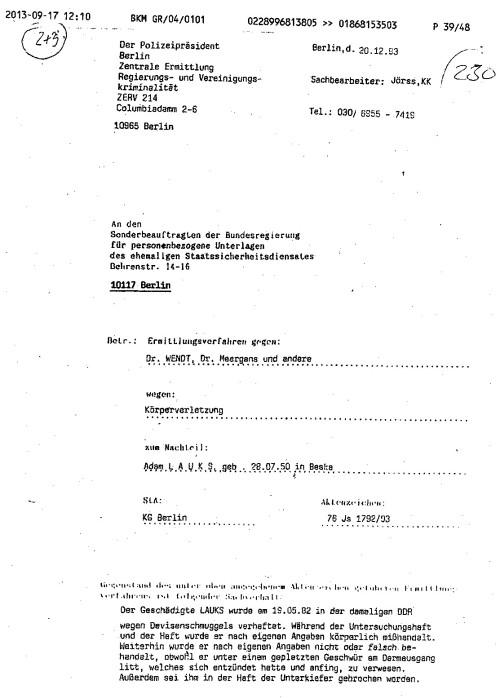 Das Ersuchen des Polizeipräsidenten in Berlin ZERV 214
