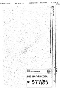 Überstellung der Augenscheinobjekte in dieser Mappe hat nicht stattgefunden