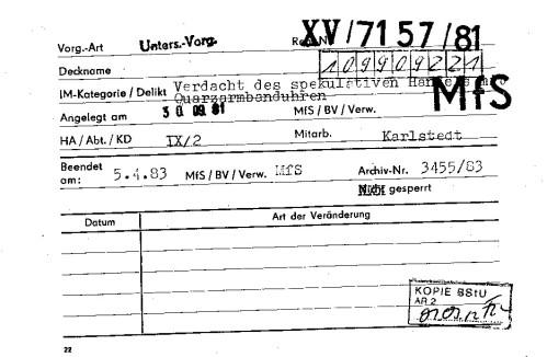 Der nichtgenehmigte ambulante Handel mit Quarzuhren läuft seit Anfang 81 .