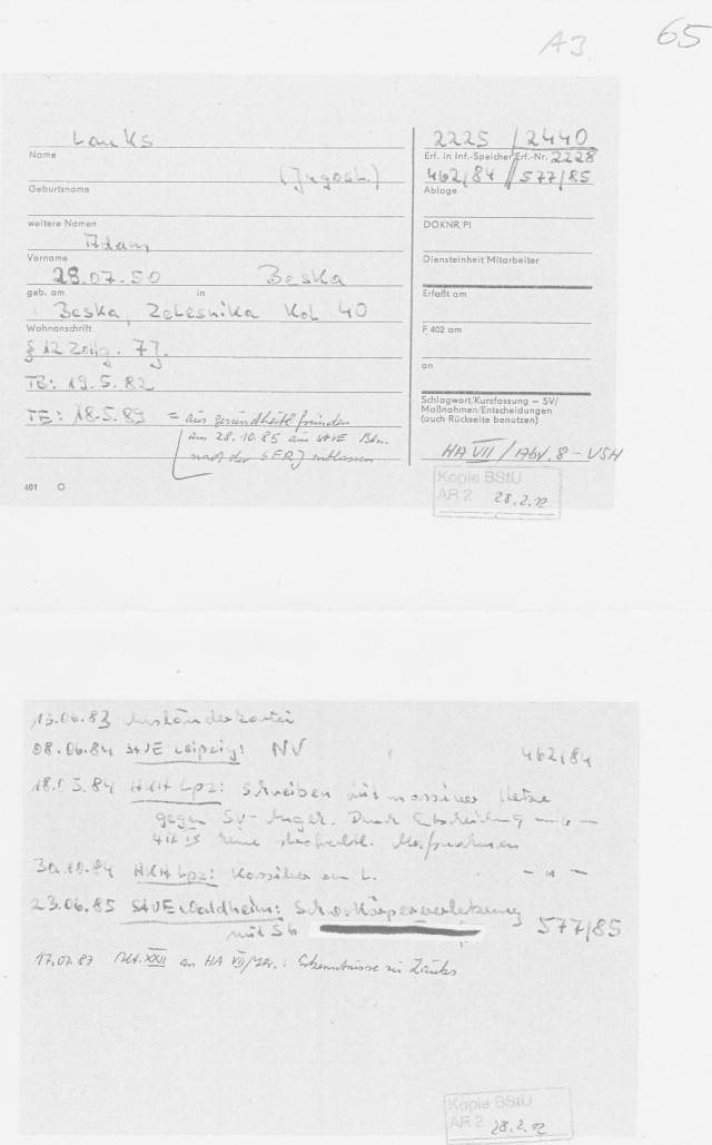 """In der A3 (Anlage) für die LaGeSo auf dem letzten Blat 65 der """"Recherche"""" ist der Beweis der Manipulation der Unterlagen des MfS bewiesen. Di Mappe mit der  Signatur 577/85  ist dem Untersuchungsorgan 5.07.1994 nicht im Original ausgehendigt oder oder vorgelegt worden, und  wurde auch dem LaGeSo  20.06.2012 als Beweis nicht als Kopie zugeleitet !? obwohl  es auf der Rückseite der Kartei eindeutlich steht dass unter 577/85 Schwere Körperverletzung im StVE Waldheim erfasst sei !?"""