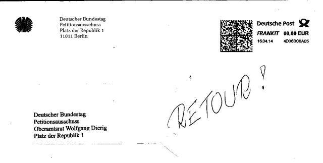 Kein weiteres Anliegen mehr an den Deutschen Bundestag - Petitionsausschuss hat mein Vertrauen in den Rechtsstaat definitiv zerstört.